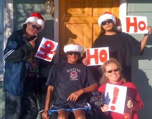 the bad Santas and me, earlier this month